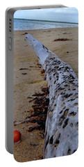 Tree Trunk And Shell On The Beach Full Size Portable Battery Charger by Exploramum Exploramum