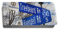 Treebeard And Rivendell Street Signs Portable Battery Charger by Gary Whitton
