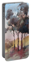 Portable Battery Charger featuring the painting Trees by Geni Gorani
