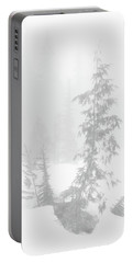 Trees In Fog Monochrome Portable Battery Charger