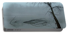 Trees In The Fog On The River Portable Battery Charger