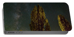 Trees Under The Milky Way On A Starry Night Portable Battery Charger