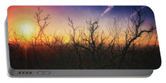 Treetop Silhouette - Sunset At Lapham Peak #1 Portable Battery Charger by Jennifer Rondinelli Reilly - Fine Art Photography
