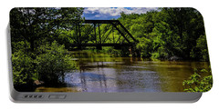 Portable Battery Charger featuring the photograph Trestle Over River by Mark Myhaver