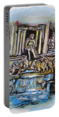 Portable Battery Charger featuring the painting Trevi Fountain, Rome by Clyde J Kell