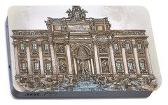 Portable Battery Charger featuring the painting  Trevi Fountain,rome  by Andrzej Szczerski