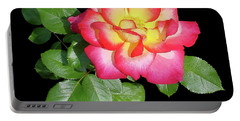 Tri-color Pink Rose2 Cutout Portable Battery Charger by Shirley Heyn