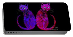 Portable Battery Charger featuring the digital art Tribal Cats by Nick Gustafson