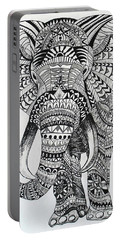 Tribal Elephant Portable Battery Charger by Ashley Price