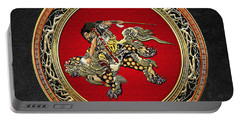 Tribute To Hokusai - Shoki Riding Lion  Portable Battery Charger