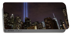Portable Battery Charger featuring the photograph Twin Beam Tribute To The Towers by Jeff at JSJ Photography