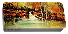 Trickling Spring In Autumn Portable Battery Charger