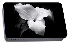 Portable Battery Charger featuring the photograph Trillium Black And White by Christina Rollo