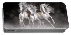 Portable Battery Charger featuring the digital art Trinity Horses Neutrals by Shanina Conway