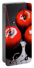 Trio Of Bright Red Home Made Candy Apples Portable Battery Charger