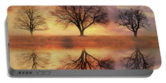 Portable Battery Charger featuring the mixed media Trio Of Trees by Lori Deiter