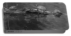 Trio Of Turtles Sunning - Black And White Portable Battery Charger