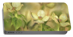 Portable Battery Charger featuring the digital art Triple Dogwood Blossoms In Evening Light by Lois Bryan