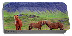Portable Battery Charger featuring the photograph Triple Horses by Scott Mahon