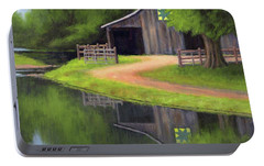 Portable Battery Charger featuring the painting Triple L Ranch  by Janet King