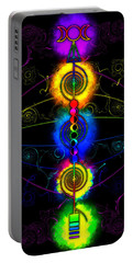 Portable Battery Charger featuring the digital art Triple Moon Goddess Totem by Iowan Stone-Flowers