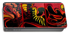Portable Battery Charger featuring the painting Triptych Abstract Vision by Jolanta Anna Karolska