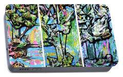Portable Battery Charger featuring the painting Triptych Of Three Trees By A Brook by Genevieve Esson