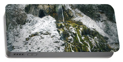 Troll Cave And Waterfall In Winter Portable Battery Charger