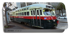 Trolley Number 1077 Portable Battery Charger by Steven Spak