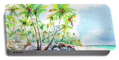 Portable Battery Charger featuring the painting Tropical Bavaro Beach Punta Cana Dominican Republic by Carlin Blahnik CarlinArtWatercolor