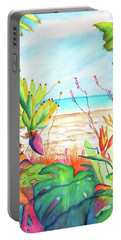 Portable Battery Charger featuring the painting Tropical Beach Plants Ocean Front by Carlin Blahnik CarlinArtWatercolor