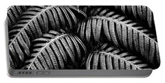 Tropical Fern Black White Portable Battery Charger