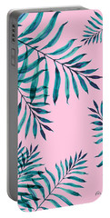 Tropical Greenery On Pink Portable Battery Charger