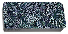 Portable Battery Charger featuring the painting Tropical Jungle Leaves Mosaic Pattern by Menega Sabidussi