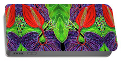 Portable Battery Charger featuring the painting Tropical Kisses by Debbie Chamberlin