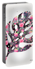 Tropical Leaf - Philodendron Black Pink Portable Battery Charger