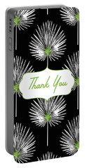 Tropical Leaf Thank You Black- Art By Linda Woods Portable Battery Charger