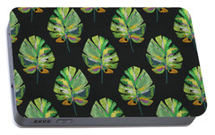 Portable Battery Charger featuring the mixed media Tropical Leaves On Black- Art By Linda Woods by Linda Woods