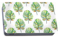 Portable Battery Charger featuring the mixed media Tropical Leaves On White- Art By Linda Woods by Linda Woods
