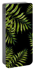 Tropical Night - Greenery On Black Portable Battery Charger