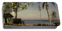 Tropical Scene Portable Battery Charger by Albert Bierstadt