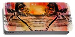 Portable Battery Charger featuring the digital art Tropical Seascape Digital Art C7717 by Mas Art Studio