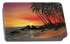 Portable Battery Charger featuring the painting Tropical Sunset by Roseann Gilmore