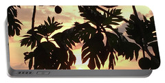 Tropical Sunset Silhouette Portable Battery Charger by Karen Nicholson