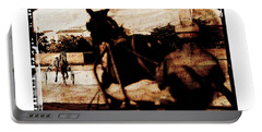 Portable Battery Charger featuring the photograph trotting 1 - Harness racing in a vintage post processing by Pedro Cardona