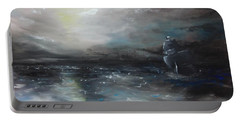 Portable Battery Charger featuring the painting Troubled Waters by Isabella F Abbie Shores FRSA