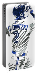 Portable Battery Charger featuring the mixed media Troy Tulowitzki Toronto Blue Jays Pixel Art 2 by Joe Hamilton