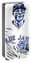 Portable Battery Charger featuring the mixed media Troy Tulowitzki Toronto Blue Jays Pixel Art by Joe Hamilton