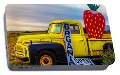 Truck With Strawberry Sign Portable Battery Charger by Garry Gay