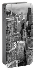 Trump Tower And John Hancock Aerial Black And White Portable Battery Charger
